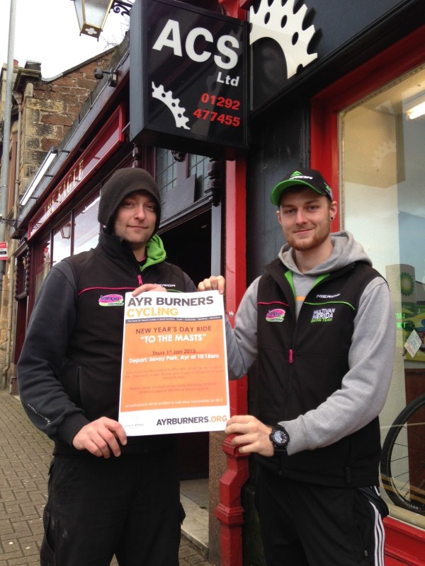 Barry and Kiernan of ACS Prestwick Ltd promote our New Year's Day Ride up the Carrick Hills