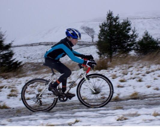 Harry love's his cyclocross riding, whatever the weather.